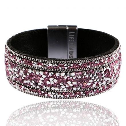 Mulberry and Silver Crystal Colour Wrap Bracelet